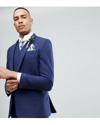 ASOS | Tall Wedding Skinny Suit Jacket In Navy Wool Mix | Lyst