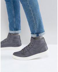 ASOS Asos High Top Sneakers In Gray Nylon
