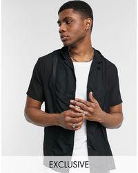 Reclaimed (vintage) Inspired - Camicia trasparente con rever - Nero