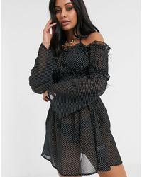 South Beach Платье Мини С Открытыми Плечами -черный