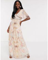 Little Mistress Flutter Sleeve Maxi Dress - Multicolour