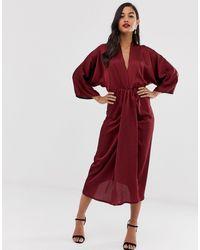 AX Paris - Атласное Платье Миди -фиолетовый - Lyst