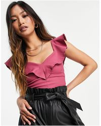 Vesper Bardot Top With Frill Detail - Pink