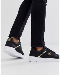 SIKSILK - Trainers In Black With Gold Logo - Lyst