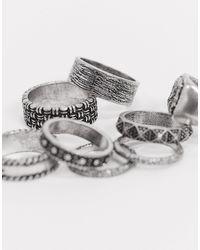 ASOS 8 Pack Textured Band Ring Set - Metallic