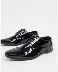 TOPMAN Patent Derby Shoes - Black