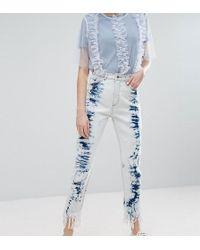 Monki - Acid Wash Frayed Hem Jeans - Lyst