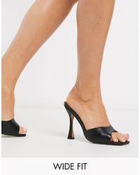 ASOS Wide Fit Nero Square Toe Mules - Black
