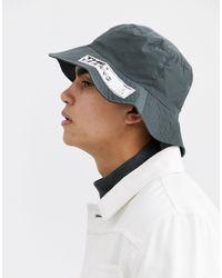 ASOS Cappello da pescatore a falda ampia grigio con etichetta con logo