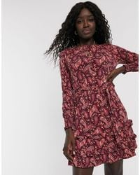 Oasis Long Sleeved Dress With Frill Hem - Red