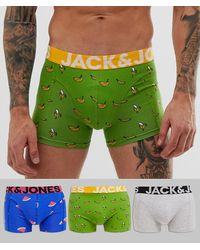 Jack & Jones Комплект Из 3 Боксеров-брифов С Принтом - Многоцветный
