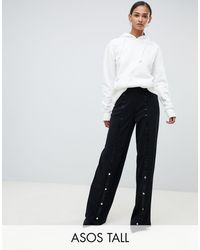 ASOS Asos Design Tall Clean Popper Wide Leg Trousers - Black