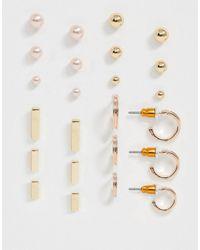 ASOS Set Van 12 Oorbellen Met Balletje En Parel-studs - Metallic