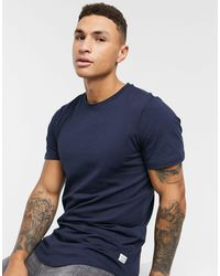 Jack & Jones Essentials Longline T-shirt With Curve Hem - Blue