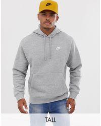 Nike Tall – Club – er Kapuzenpullover - Grau