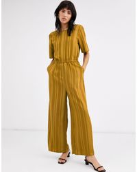 Ichi Jacquard Stripe Jumpsuit-yellow
