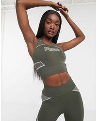 PUMA Бесшовный Спортивный Бюстгальтер Цвета Хаки Training-зеленый
