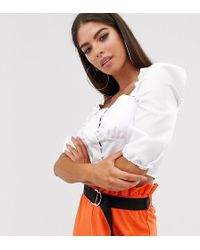 Missguided Milkmaid Square Neck Blouse In White