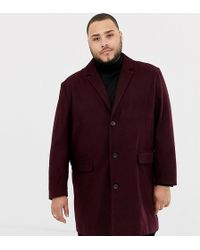 Jacamo Wool Blend Overcoat In Burgundy - Red