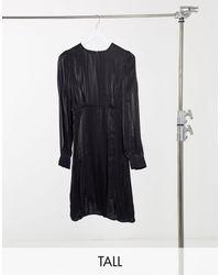 Y.A.S Y.a.s. Tall Shine Silky Lace Trim Mini Dress - Black