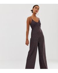 Miss Selfridge Wide Leg Jumpsuit In Metallic Stripe - Blue