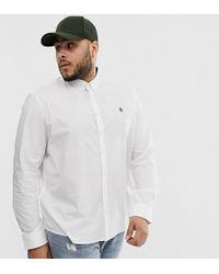 Original Penguin Белая Эластичная Рубашка Из Поплина На Пуговицах С Логотипом Big & Tall - Белый
