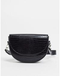 Pimkie Mock Croc Saddle Bag - Black