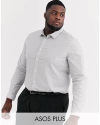 ASOS Plus Slim Fit Black And White Grid Shirt