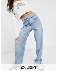 Collusion X014 Dad Jeans With Stepped Waist Band - Blue