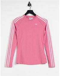 adidas Originals Розовый Облегающий Лонгслив С Тремя Полосками И Логотипом Fakten-розовый Цвет