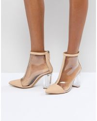 Missguided - Clear Heeled Ankle Boot - Lyst