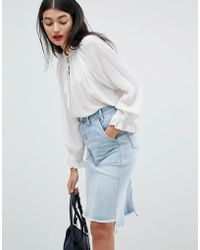Pepe Jeans - Denim Midi Skirt With Raw Hem - Lyst