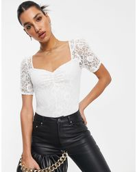 Lipsy Lace Sleeve Top - White