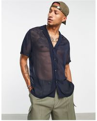 ASOS Relaxed Sheer Crepe Shirt With Revere Collar - Blue