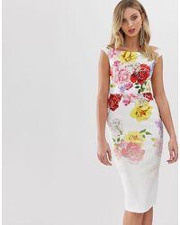 True Violet - Облегающее Платье С Открытыми Плечами И Цветочным Принтом -мульти - Lyst