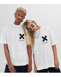 Collusion Camiseta blanca unisex con logo - Blanco