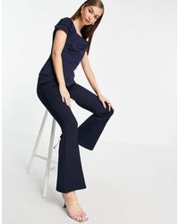 Closet Tailored Flare Trousers Co-ord - Blue
