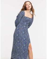 Bershka Square Neck Floral Midi Dress - Blue