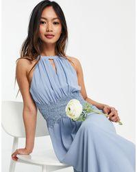 Vila Голубое Платье Макси С Вырезом Халтер Для Подружки Невесты Bridesmaid-голубой - Синий