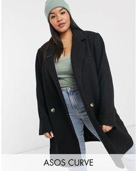 ASOS Asos Design Curve Boyfriend Coat - Black