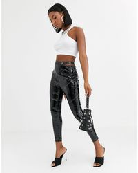 Public Desire Trousers With Cut Out Hip And Contrast Stitching - Black