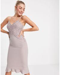 AX Paris Серо-розовое Платье Миди На Тонких Бретельках -розовый Цвет
