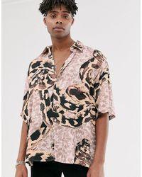 Heart & Dagger Oversized Overhemd Met Slangenprint - Naturel
