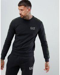 EA7 - Graphic Series Camo Print Crew Neck Logo Sweat In Black - Lyst