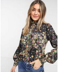 TOPSHOP IDOL - Blouse encolure haute à imprimé floral - Multicolore