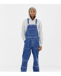 Collusion Mid Wash Dungarees - Blue
