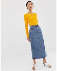 97f2a154b5f Dr. Denim Venla Step Hem Button Front Maxi Skirt in Blue - Lyst
