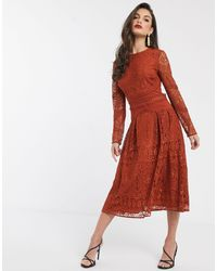 ASOS Long Sleeve Prom Dress - Red