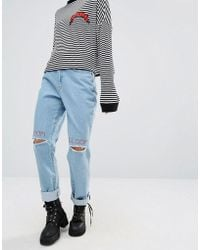 The Ragged Priest Doom And Gloom Embroidered Ripped Jeans - Blue