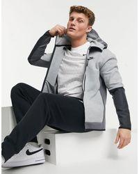 Nike Tech - Hoodie polaire color block à fermeture éclair - Gris